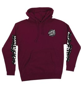 Santa Cruz Damaged Dot Hoodie Burgundy MED
