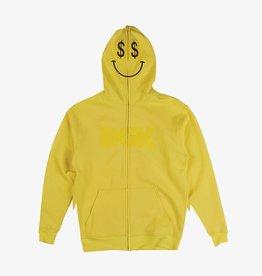 DGK Paid Full Zip Up Fleece Hoodie Yellow LRG