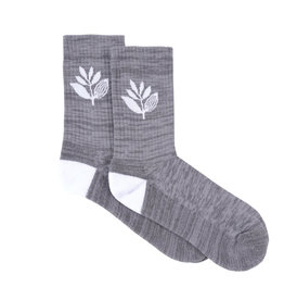 Magenta Plant Socks - Heather Grey