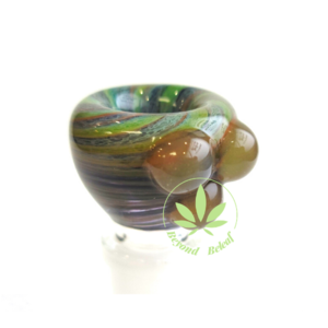 DAYTON Z GLASS DAYTON Z GLASS 14mm SWIRL FRIT BOWL W/ GREEN DOTS