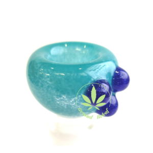 DAYTON Z GLASS DAYTON Z GLASS 14mm BLUE FRIT BOWL W/ BLUE DOTS
