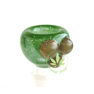 DAYTON Z GLASS DAYTON Z GLASS 14mm GREEN FRIT BOWL W/ GREEN DOTS