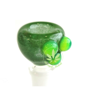 DAYTON Z GLASS DAYTON Z GLASS 14mm GREEN FRIT BOWL W/ LIME DOTS