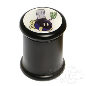 "BLACK GLASS POP TOP JAR - 3"""