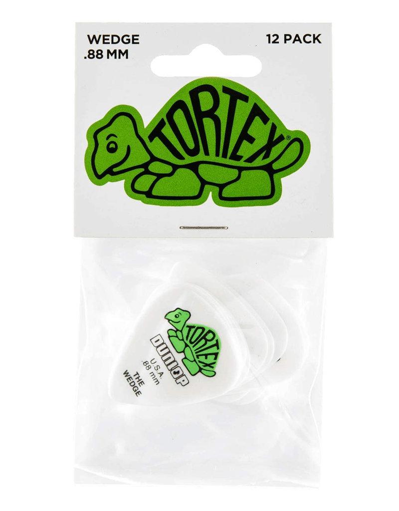 Dunlop Dunlop 424P.88 Tortex Wedge .88mm White/Green Guitar Picks 12-Pack