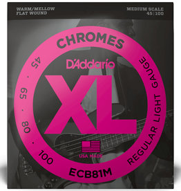 D'Addario D'Addario ECB81M Medium Scale Chromes Flat Wound Electric Bass Strings Regular Light - .045-.100 4-string