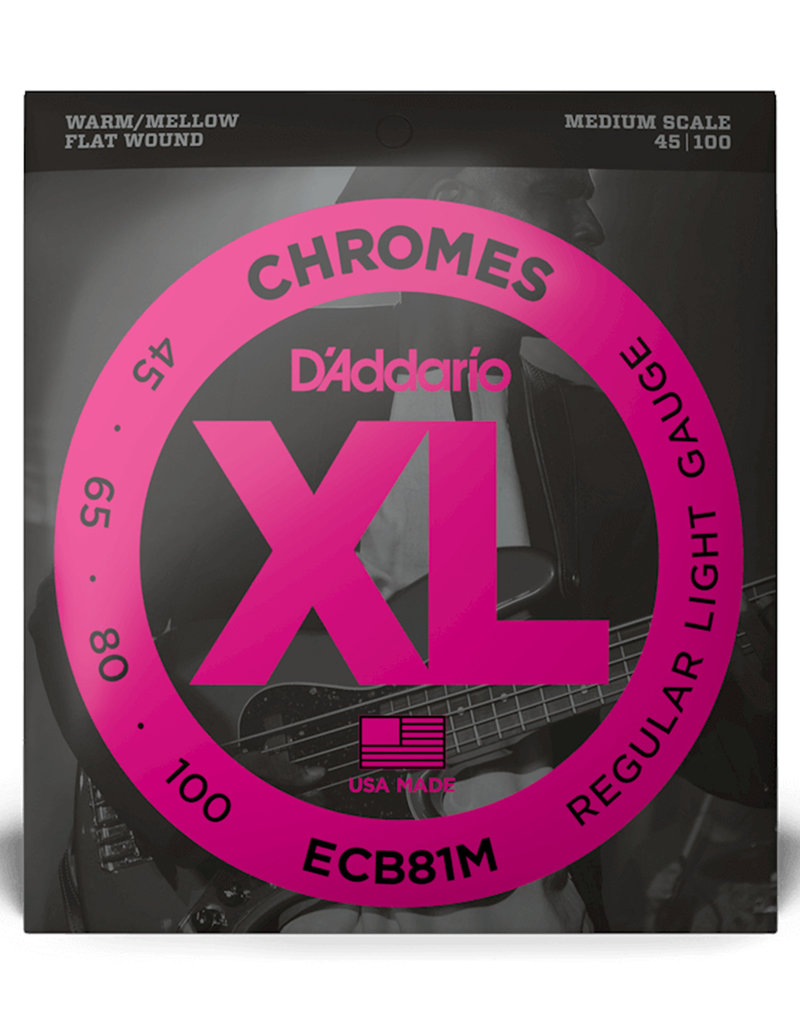 D'Addario D'Addario ECB81M Medium Scale Chromes Flat Wound Electric Bass Strings Regular Light - .045-.100 4-string