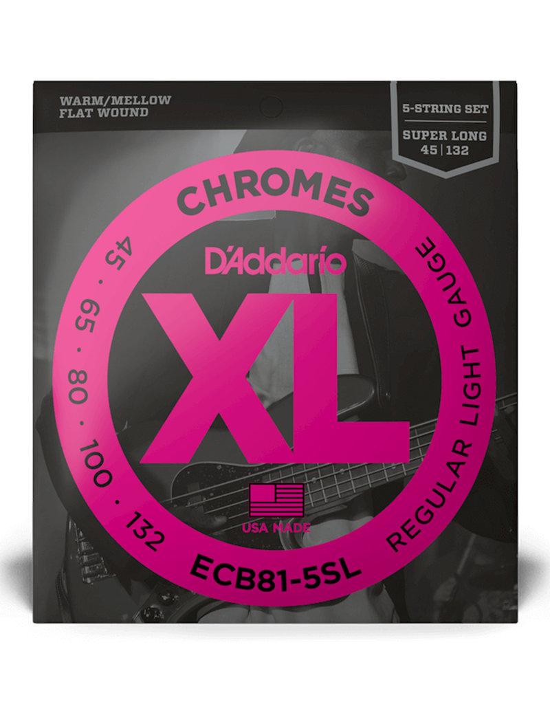 D'Addario D'Addario ECB81-5SL Regular Light Chrome Flat Wound 5-string Super Long Scale Bass Strings - .045-.132 5-string