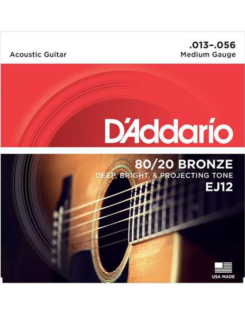 D'Addario D'Addario EJ12 Medium 80/20 Bronze Acoustic Guitar Strings - .013-.056