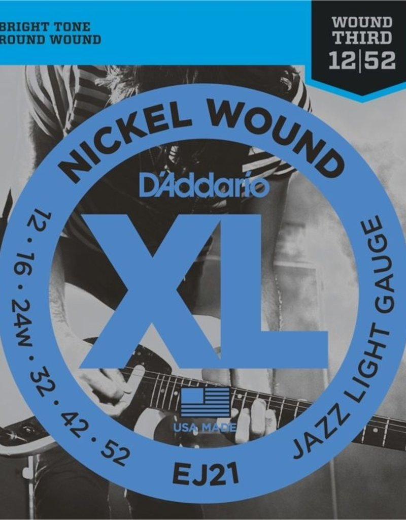 D'Addario D'Addario EJ21 Nickel Wound Electric Strings -.012-.052 Jazz Light Wound 3rd