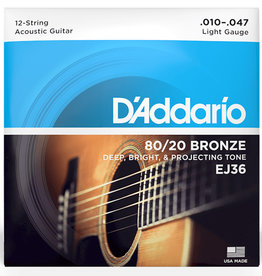 D'Addario D'Addario EJ36 12-String 80/20 Bronze Light Acoustic Guitar Strings