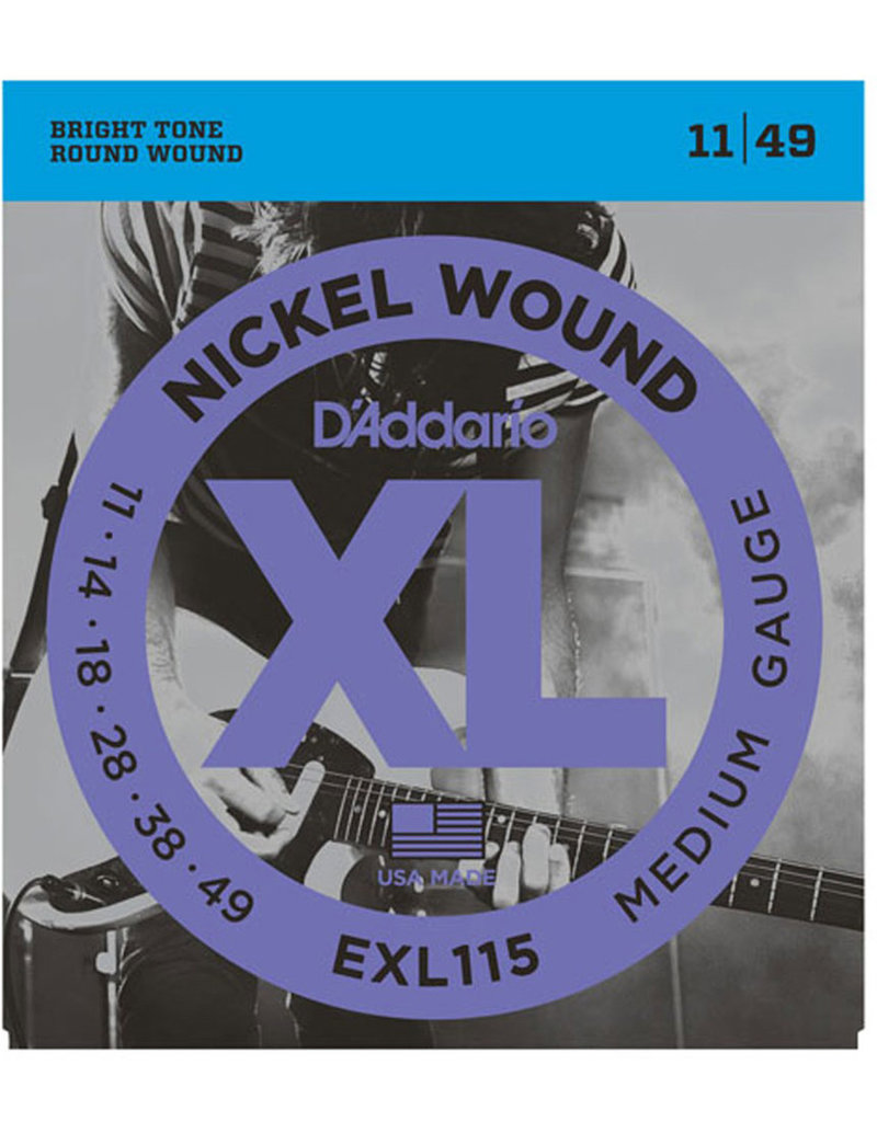 D'Addario D'Addario EXL115 Nickel Wound Electric Strings -.011-.049 Medium/Blues-Jazz Rock