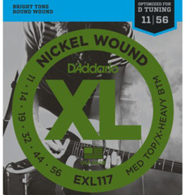 D'Addario D'Addario EXL117 Nickel Wound Electric Strings -.011-.056 Medium Top/Extra-Heavy Bottom