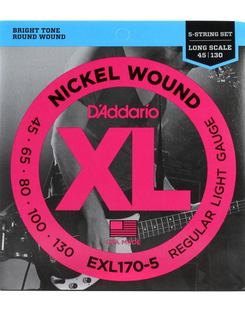 D'Addario D'Addario EXL170-5 Regular Light Nickel Wound 5-string Long Scale Bass Strings - .045-.130