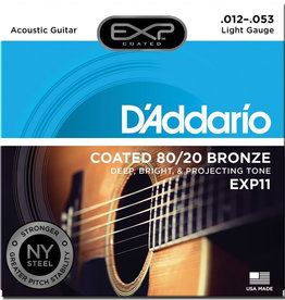 D'Addario D'Addario EXP11 Light Coated 80/20 Bronze Acoustic Strings - .012-.053