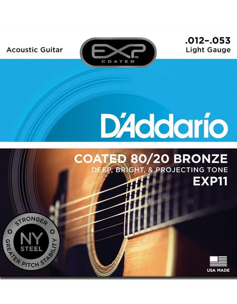 D'Addario D'Addario EXP11 Light Coated 80/20 Bronze Acoustic Strings - .012-.053