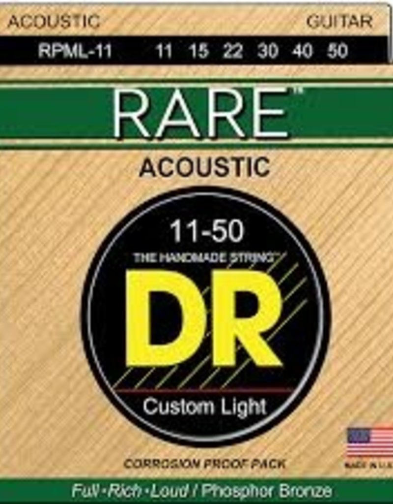 DR Rare Phosphor Bronze Acoustic Guitar Strings RPML-11 Custom Light 11-50