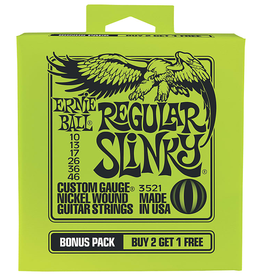 Ernie Ball Ernie Ball 3521 Bonus Pack Regular Slinky Nickel Wound Electric Guitar Strings - .010-.046 Gauge