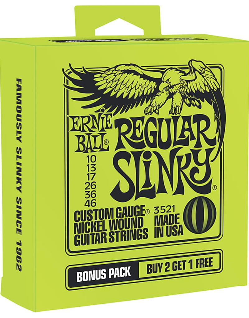 Ernie Ball Ernie Ball 3521 Bonus Pack Regular Slinky Nickel Wound Electric Guitar Strings - .010-.046 Gauge
