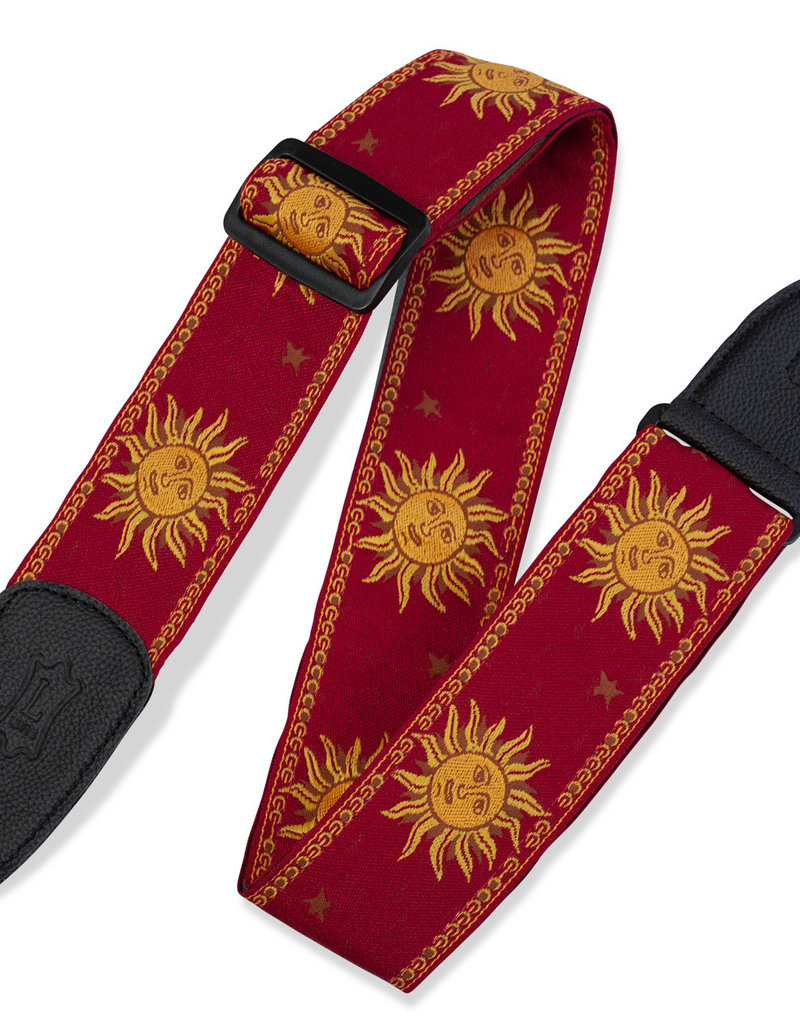 """Levy's Leathers Levy's MPJG-SUN-RED 2in"""" Sun Design Jacquard Weave Guitar Strap"""