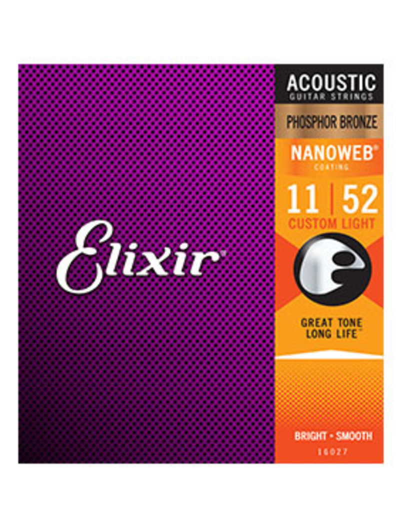 Elixir Elixir 16027 Acoustic Phosphor Bronze Nanoweb Custom Light .011 - .052