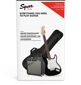 Squier Squier Stratocaster Pack, Laurel Fingerboard, Black, Gig Bag, 10G - 120V