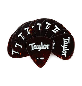 Taylor Taylor Celluloid 351 Picks, Tortoise Shell, 0.71mm, 12-Pack
