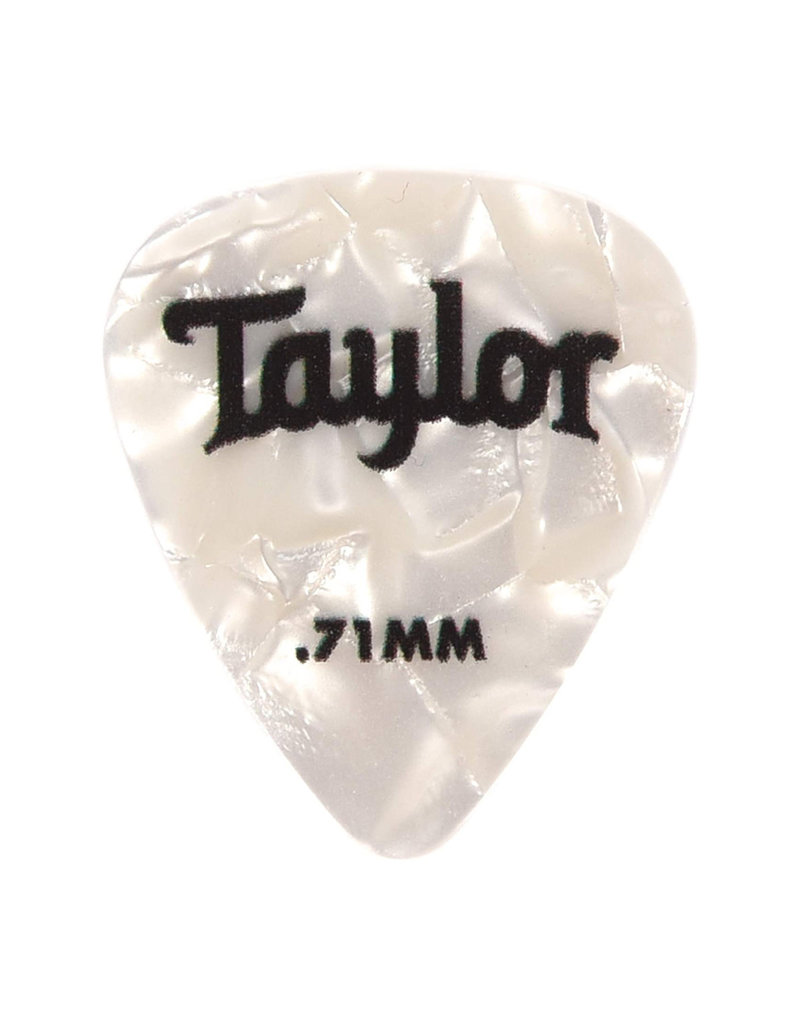 Taylor Taylor Celluloid 351 Picks, White Pearl, 0.71mm, 12-Pack