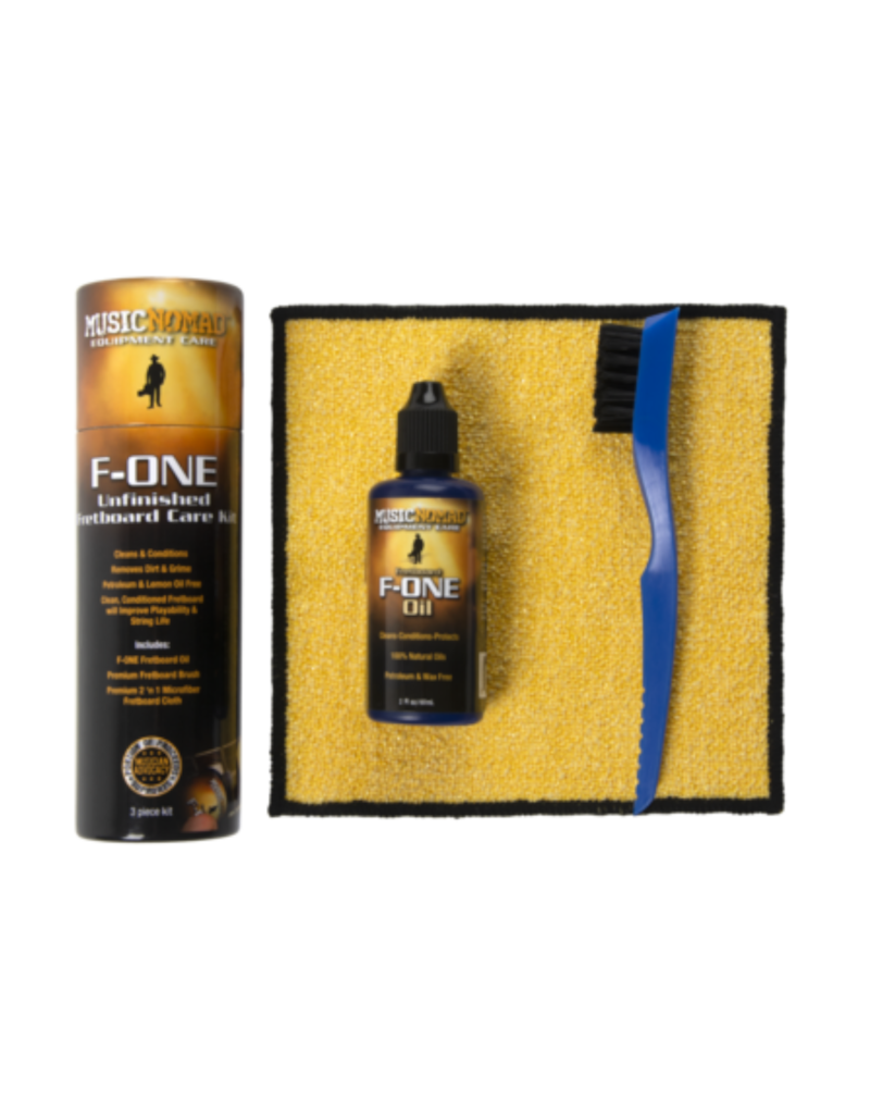 MusicNomad MusicNomad F-ONE Unfinished Fretboard Care Kit - Oil, Cloth, Brush