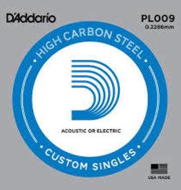 D'Addario D'Addario PL009 Plain Steel Ball End .009 in. (.23 mm) 5 Pack