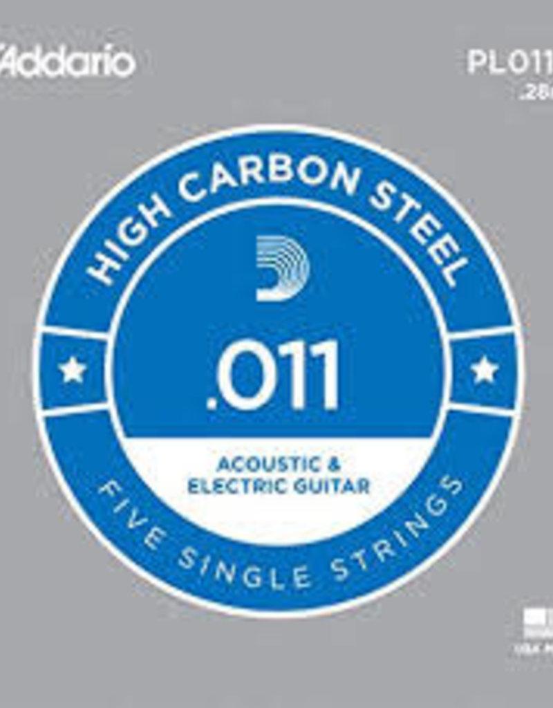 D'Addario D'Addario PL011 Plain Steel Guitar 5 Pack .011