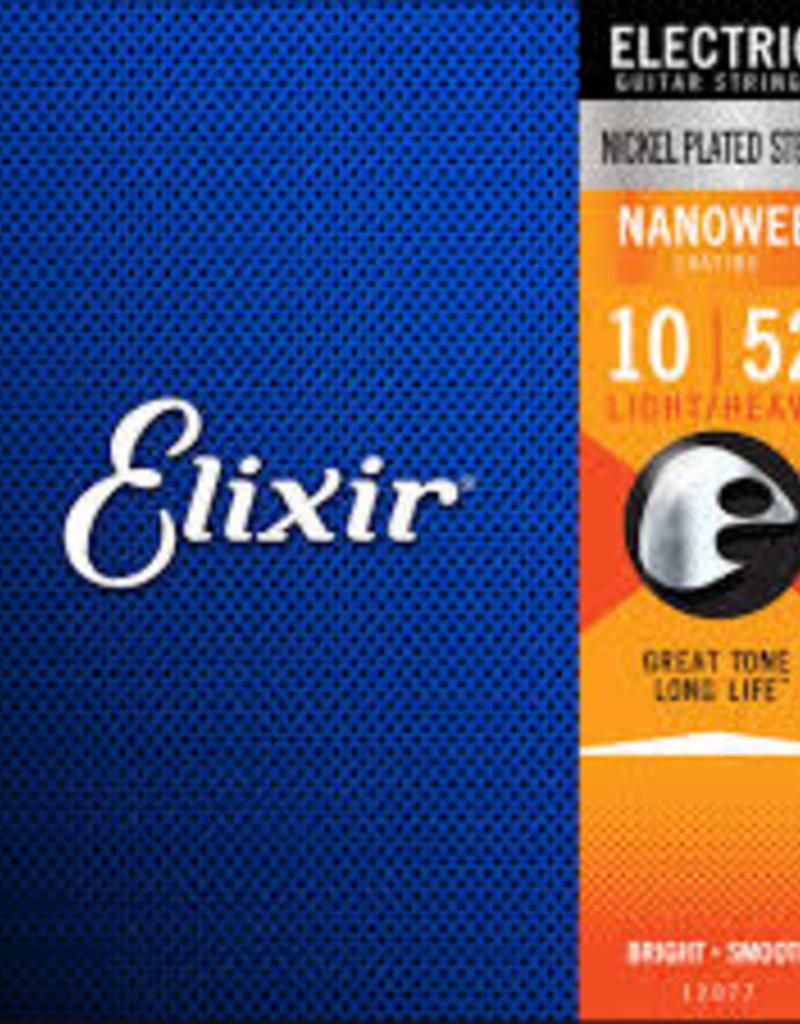 Elixir Elixir Strings 12077 Nanoweb Electric Guitar Strings -.010-.052 Light Top Heavy Bottom