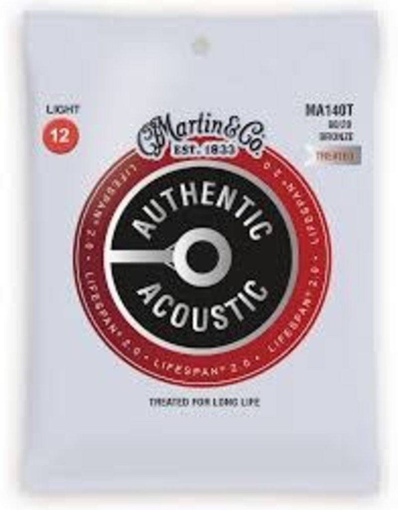 Martin Martin MA140T Lifespan Treated 80/20 Bronze Authentic Acoustic Guitar Strings Light .012-.054