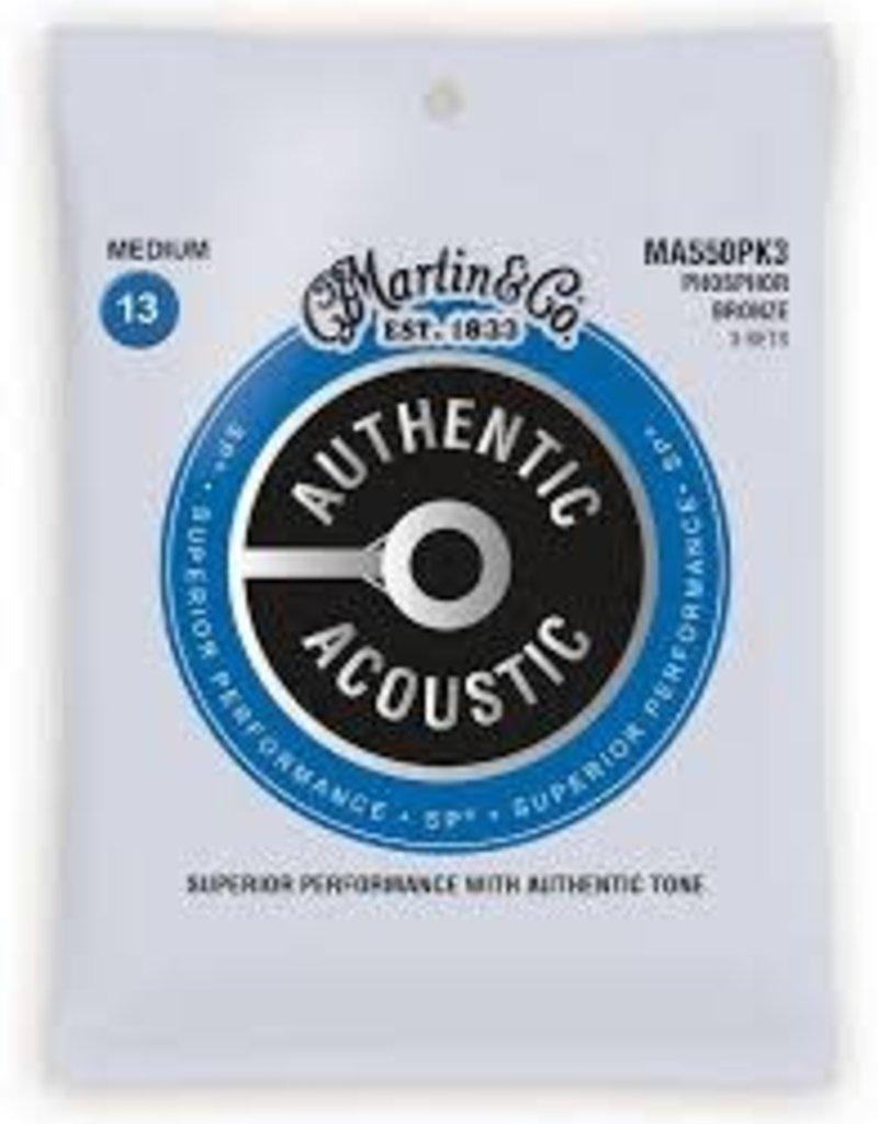 Martin Martin MA550PK3 Authentic Acoustic Phosphor Bronze, Medium 3pk, .012