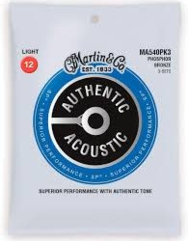 Martin Martin MA540PK3 3 Set Pack Authentic Acoustic SP 12-54 Light Phosphor Bronze Acoustic Guitar Strings .012-.054