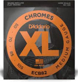 D'Addario D'Addario ECB82 Chromes Bass Guitar Strings, Medium, 50-105, Long Scale