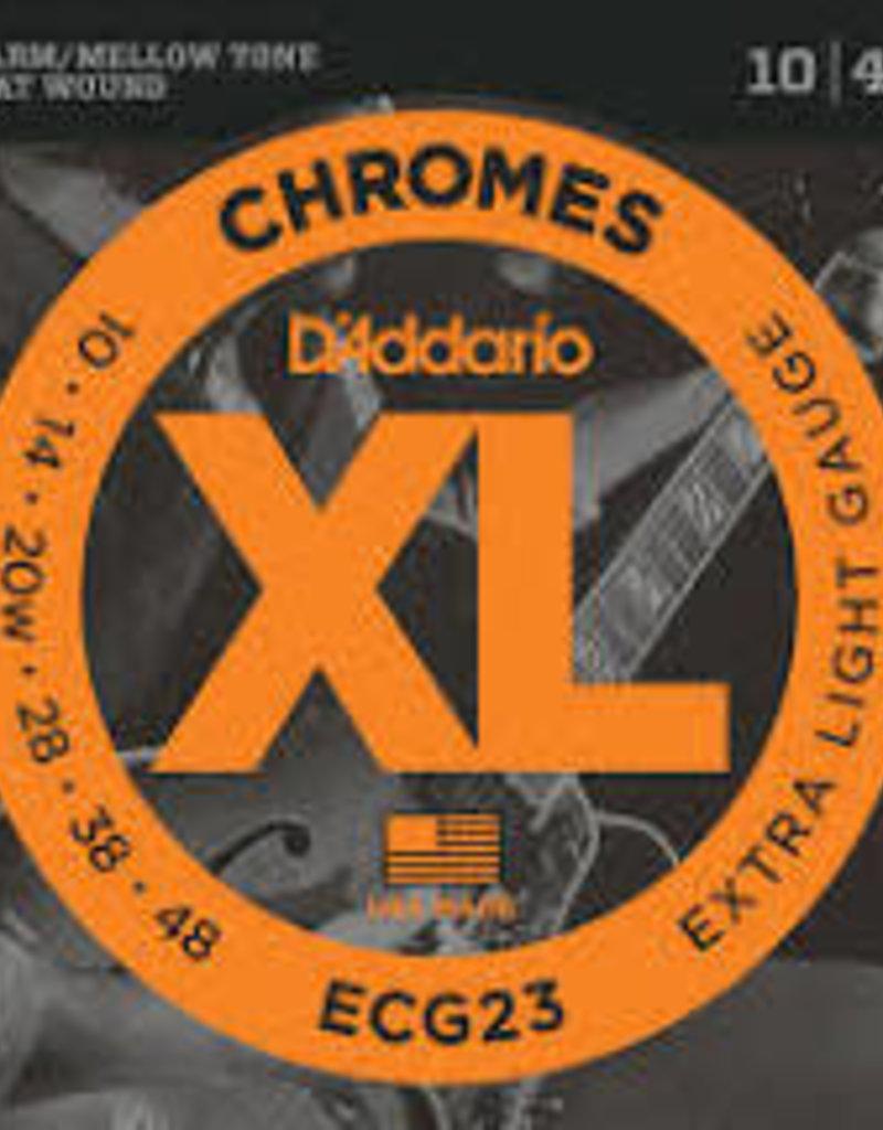 D'Addario D'Addario ECG23 Chromes Flat Wound Electric Guitar Strings, Extra Light, 10-48, 3 Sets