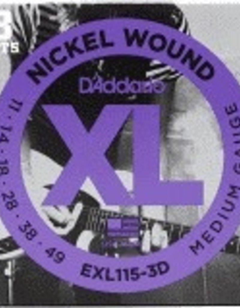 D'Addario D'Addario ECG24-3D Chromes Flat Wound Electric Guitar Strings, Jazz Light, 11-50, 3 Sets