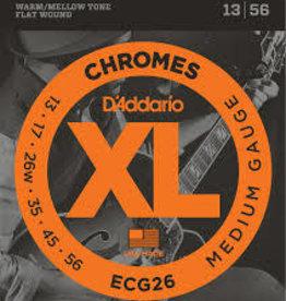 D'Addario D'Addario ECG26 Chromes Flat Wound Electric Guitar Strings, Medium, .13-.56