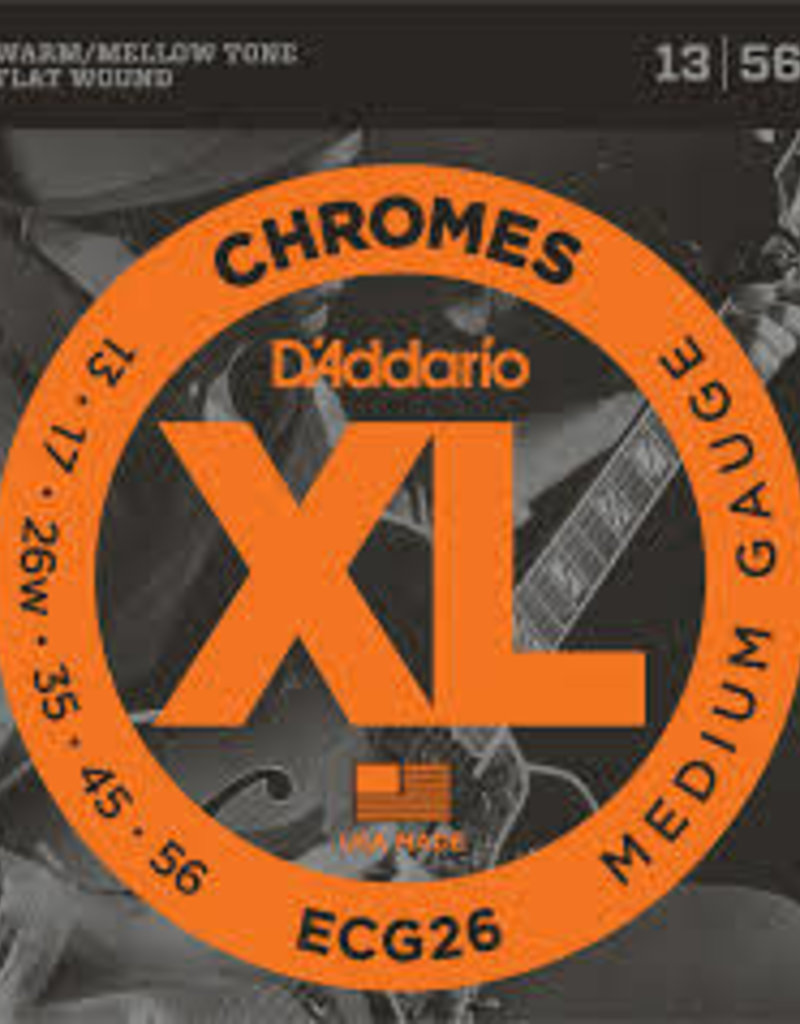D'Addario D'Addario ECG26 Chromes Flat Wound Electric Guitar Strings, Medium, .13-.56