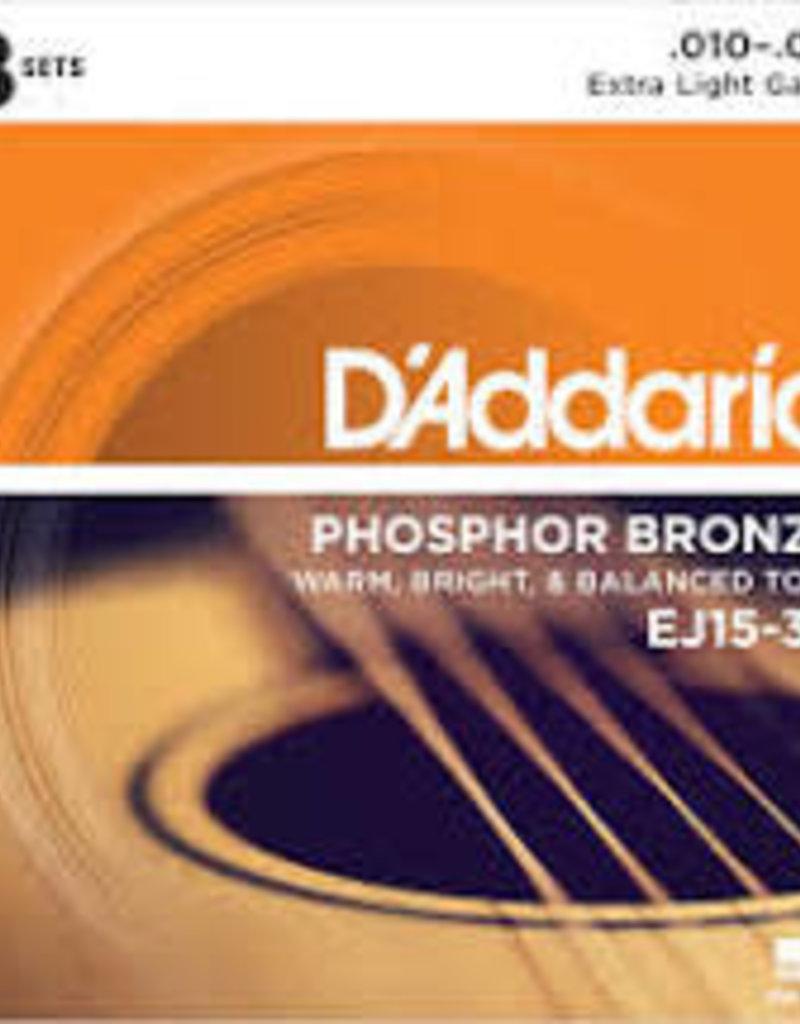 D'Addario D'Addario EJ15-3D Phosphor Bronze Acoustic Guitar Strings, Extra Light, 3 Sets