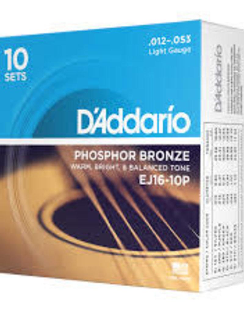D'Addario D'Addario EJ16-10P Phosphor Bronze Acoustic Guitar Strings, Light, 10 Sets