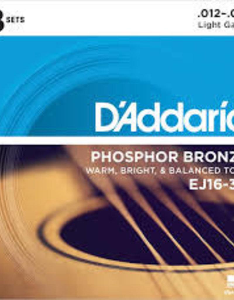 D'Addario D'Addario EJ16-3D Phosphor Bronze Acoustic Guitar Strings, Light, 3 Sets