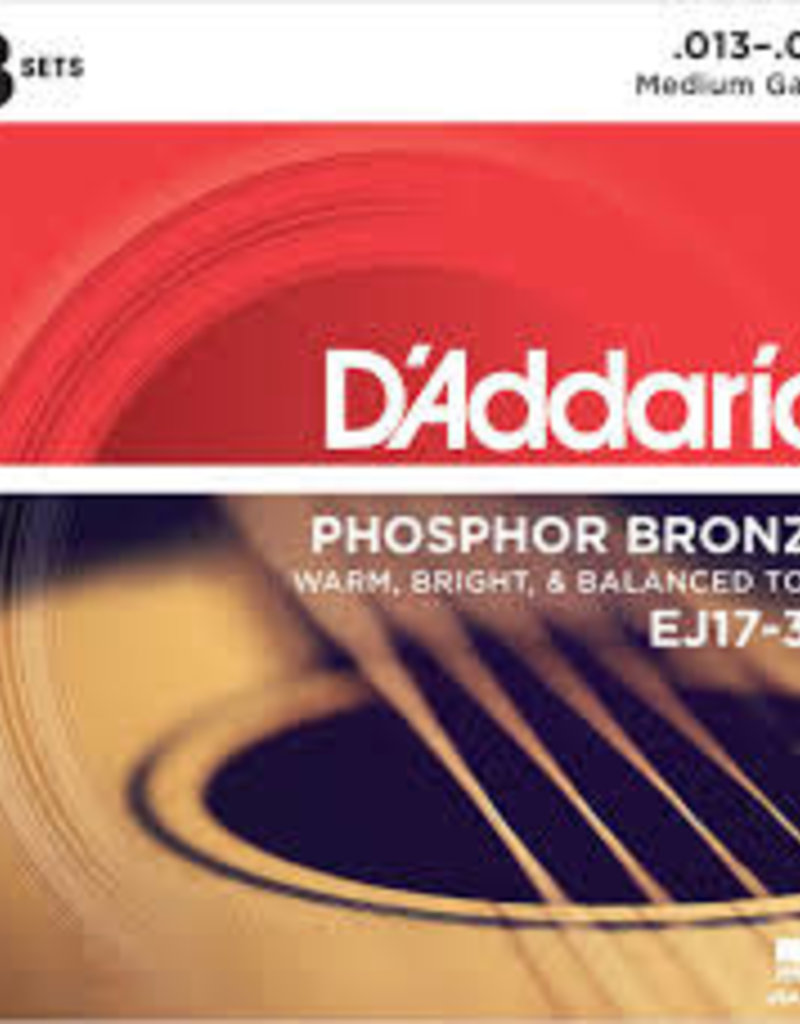 D'Addario D'Addario EJ17-3D Phosphor Bronze Acoustic Guitar Strings, Medium, .13-.56 3 Sets