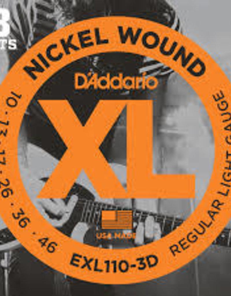 D'Addario D'Addario EXL110-3D Nickel Wound Electric Guitar Strings, Regular Light, .10-.46, 3 Sets