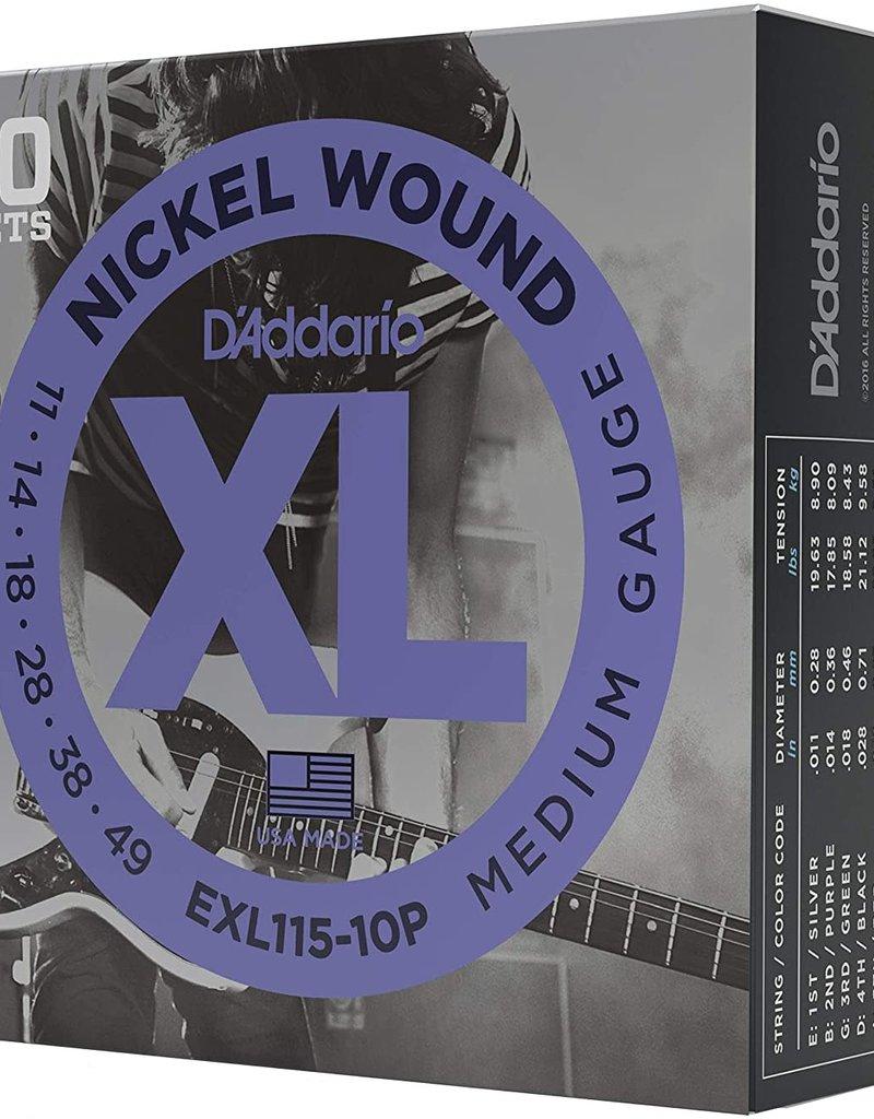 D'Addario D'Addario EXL115-10P Nickel Wound Electric Guitar Strings, Medium/Blues-Jazz Rock, .11-.49, 10 Sets