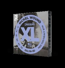 D'Addario D'Addario EXL116-3D Nickel Wound Electric Guitar Strings, Medium Top/Heavy Bottom, 11-52, 3 Sets
