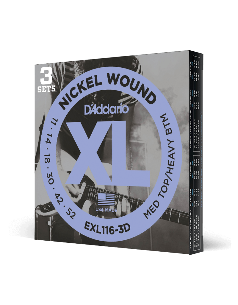 D'Addario D'Addario EXL116-3D Nickel Wound Electric Guitar Strings, Medium Top/Heavy Bottom, 11-52, 3 Sets