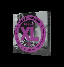 D'Addario D'Addario EXL120-3D Nickel Wound Electric Guitar Strings, Super Light, 9-42, 3 Sets