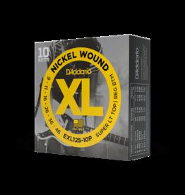 D'Addario D'Addario EXL125-10P Nickel Wound Electric Guitar Strings, Super Light Top/Regular Bottom, 9-42, 10 Sets